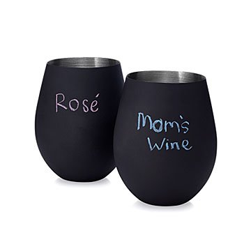 Chalkboard Stemless Wine Glasses - Set of 2