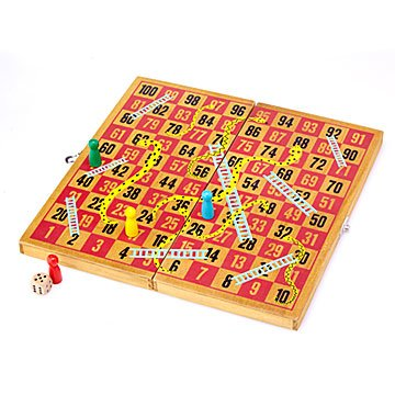 Wooden Snakes and Ladders Set