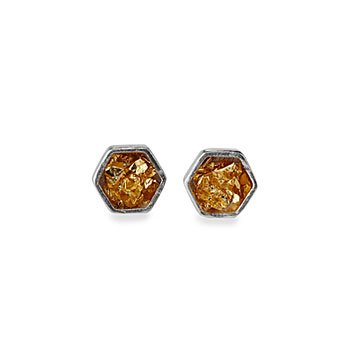 Gold Leaf Hex Studs