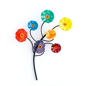 Glass Flower Garden Wall Sculpture