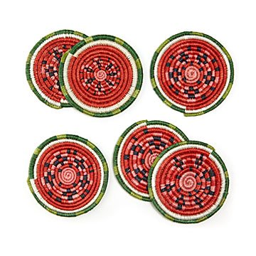 Watermelon Sisal Coasters - Set of 6