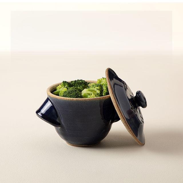 blue stoneware microwave veggie steamer | Essentials for the Spring Season | Eat. Drink. Work. Play.