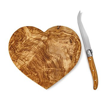 Olive Wood Heart Board and Knife
