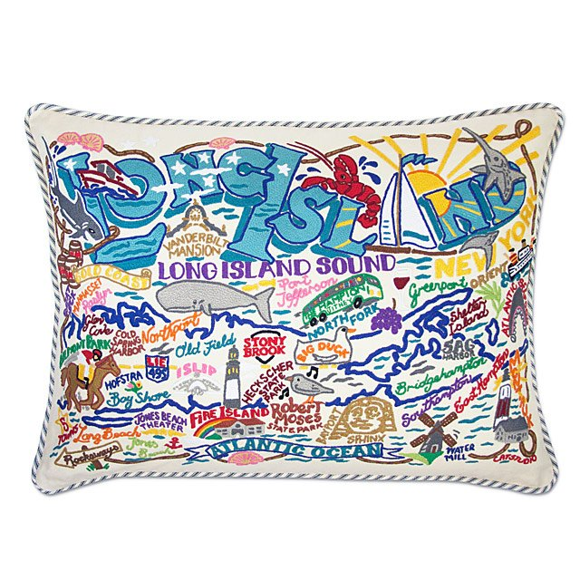 Long Island Embroidered Pillow
