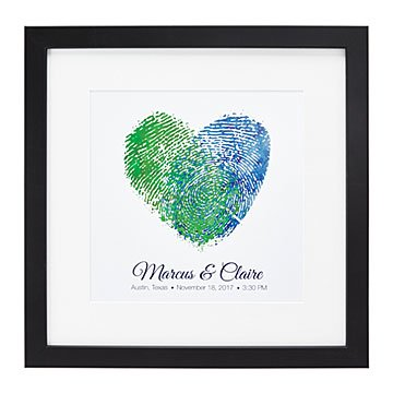 Fingerprints on my Heart Personalized Couple Art