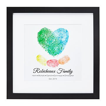 Fingerprints on my Heart Personalized Family Art