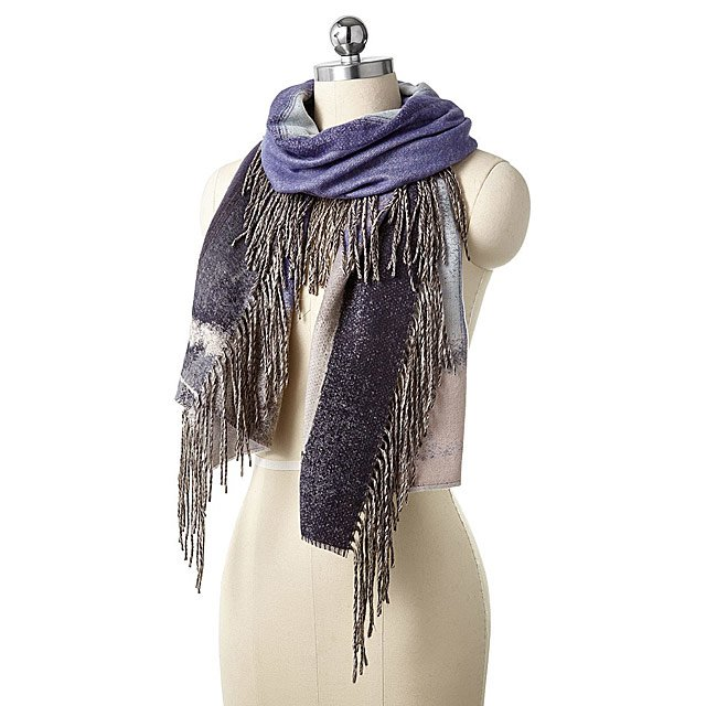 8c7da315b9c Abstract Side Fringe Scarf Plum