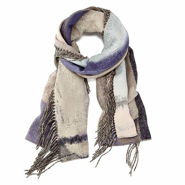Abstract Side Fringe Scarf Plum
