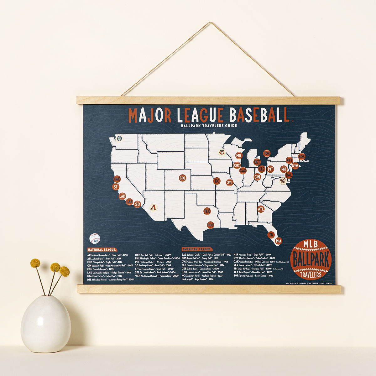 Mlb Ballpark Travelers Map Ball Fields Sports Uncommongoods - Map-of-us-baseball-stadiums