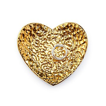 Hammered Gold Heart Ring Holder