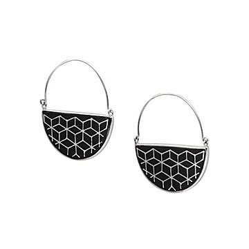 Bidri Half Moon Earrings