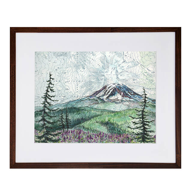 Mountain Peak Topography Map Art