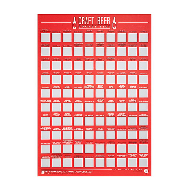100 Craft Beers Scratch Off Poster
