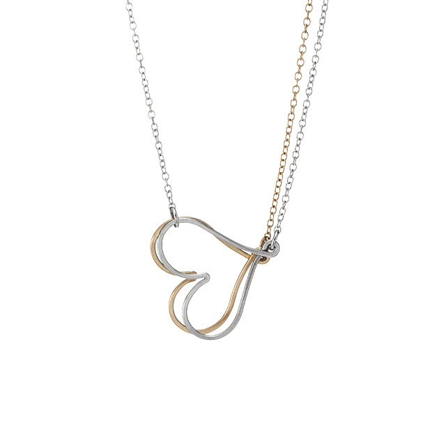 Lovers Intertwined Heart Necklace