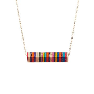 Recycled Half Pipe Skateboard Necklace