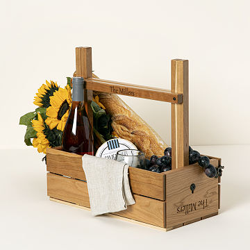 Customizable Personalized Picnic Table Wine Carrier