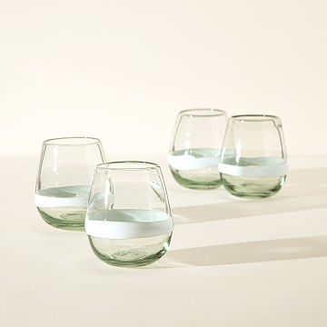 Recycled Stemless Wine Glasses - Set of 4