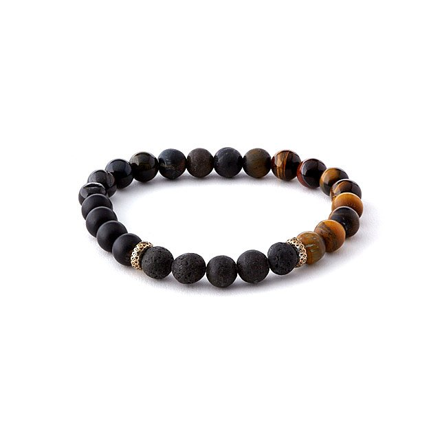 Onyx and Lava Stone Essential Oil Bracelet
