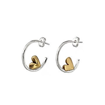 Sleepy Heart Hoop Earrings