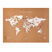 Cork Map With World Flag Pins
