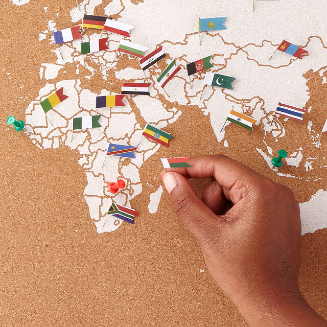 World Map With Pins Cork Map With World Flag Pins Interactive World Map