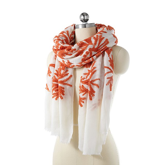 Coral Hand-Embroidered Scarf