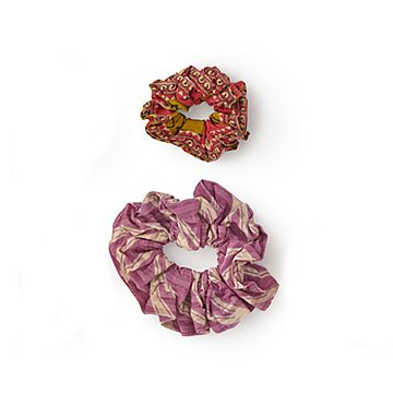 Upcycled Sari Scrunchie Set