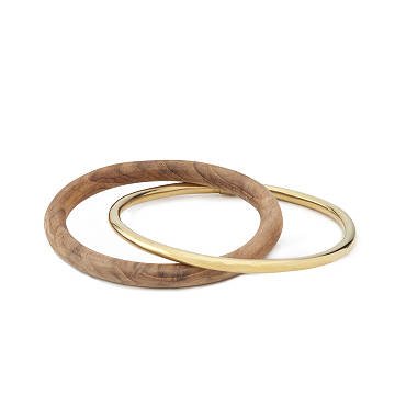 Brass And Teak Bangles