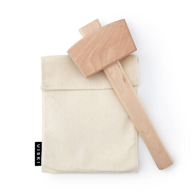 Wooden Ice Mallet and Crushing Bag