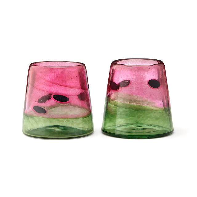 Hand-Blown Watermelon Tumblers - Set of 2