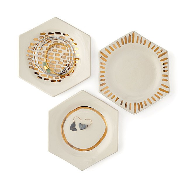 Gold Luster Ceramic Dishes Set of 3