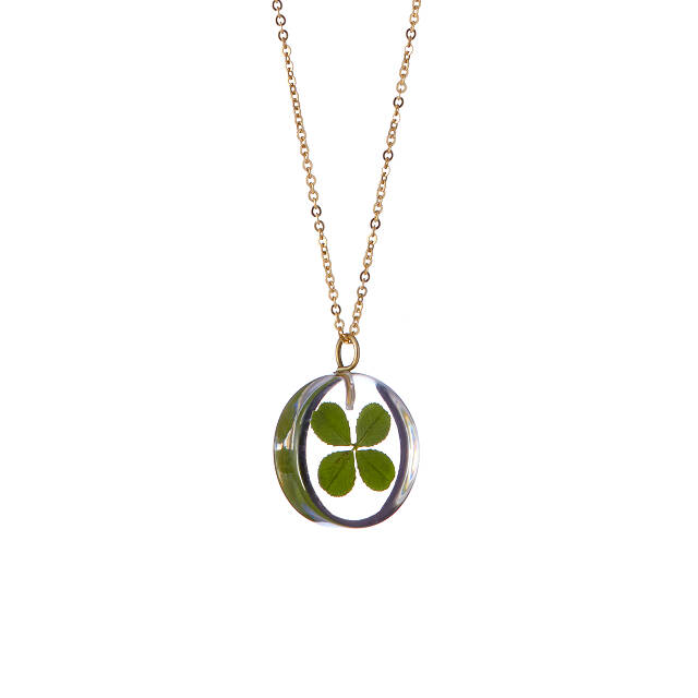 Handmade Jewelry. Scrabble Tile Necklace Lucky Charm Necklace with Green Teardrop Four Leaf Clover Necklace