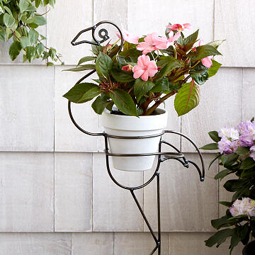 Metal Flamingo Planter Stake