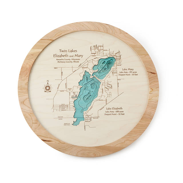 Lake Topography Art Lazy Susan