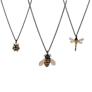 Gold Leaf Bug Necklaces