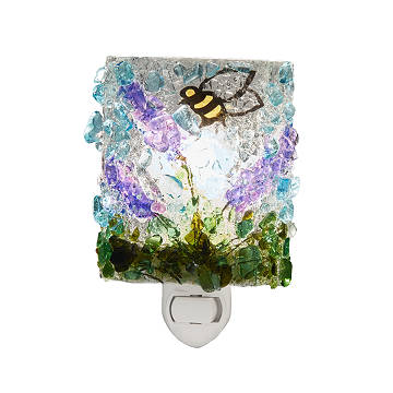 Recycled Glass Lavender Bee Nightlight