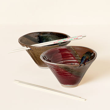 Handmade Noodle Bowl with Chopsticks