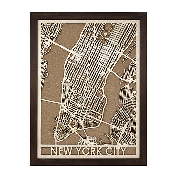 Wood Cut City Map