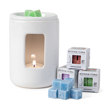 Scented Cubes & Ceramic Wax Burner Set