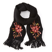 Hand Embroidered Flower Scarf And Mittens