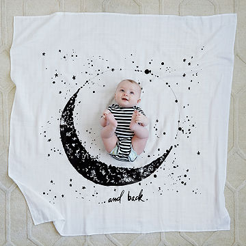 Moon and Back Swaddle Blanket