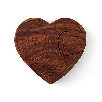 Hand Carved Heart Keepsake Box