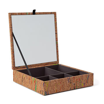 Colorful Cork Jewelry Box with Mirror