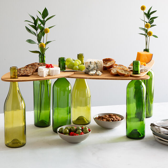 Up Cycled Olive Green Wine Bottle Cutting or Cheese Board Hostess Gift