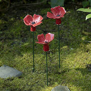 Ceramic Poppy Garden Stake