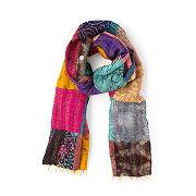 Kantha Stitch Repurposed Sari Scarf