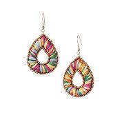 Rainbow Raffia Teardrop Earrings