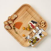 Hidden Compartment Cheese Board W/Knives