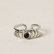 Black Opal Moon Phases Ring