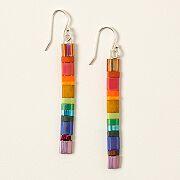 Rainbow Tila Bead Earrings